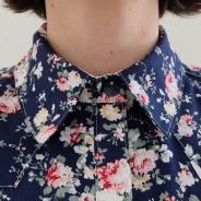 Col chemise à Roses